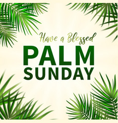 Palm sunday - greeting banner template for vector