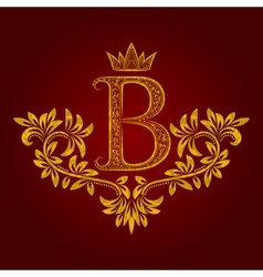 Patterned golden letter B monogram in vintage vector