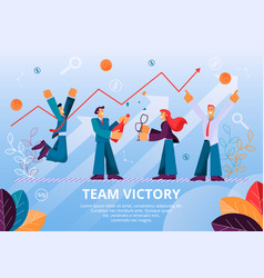 People celebrates team victory successful project vector