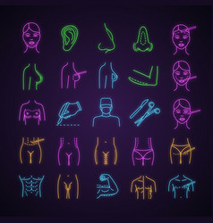Plastic surgery neon light icons set vector