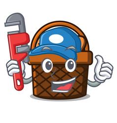 Plumber bread basket mascot cartoon vector