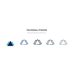 Polygonal pyramid triangles icon in different vector