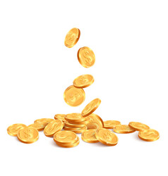 Realistic falling coins golden coin falling down vector