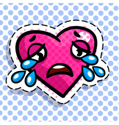 red heart cries vector image