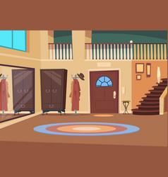 Retro hallway cartoon corridor interior vector