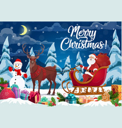 santa and christmas gifts on reindeer sleign vector image