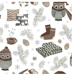 Seamless pattern with cute sport owls and vector