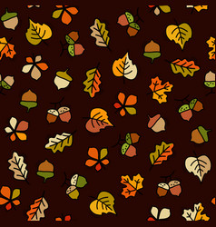 seamless pattern with leaves and acorn vector image