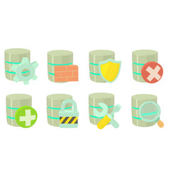 Server icon set cartoon style vector