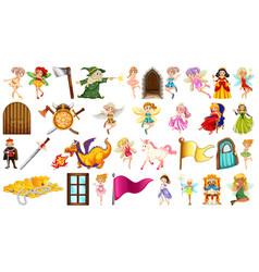 Set fantasy fairy object vector