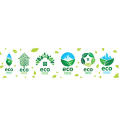 set icons for ecological houses vector image