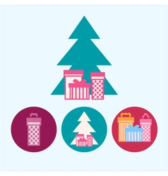 Set icons with gift boxeschristmas tree vector