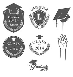 Set of vintage graduation labels badges and desig vector image