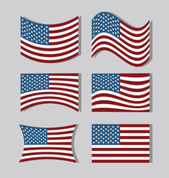 Set usa flags to independence day tradition vector