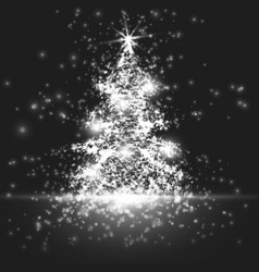 Shining christmas tree on monochrome vector