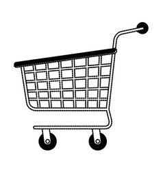 shopping cart icon in black dotted silhouette vector image