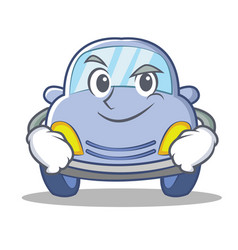 Smirking cute car character cartoon vector