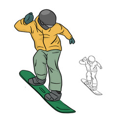 snowboarder with yellow jacket and helmet vector image