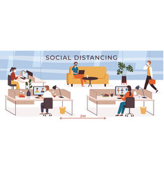 social distancing in office business people vector image