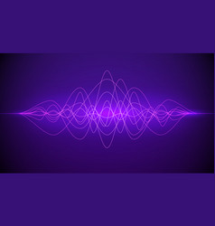 sound wave abstract purple color light dynamic vector image
