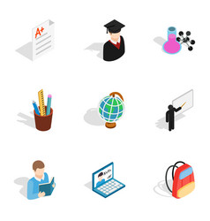 stationery icons isometric 3d style vector image