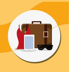 suitcase travel with smartphone and sunglasses vector image