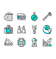 Summer camp icon set vector
