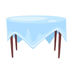 Tablecloth on round table isolated icon cafe or vector