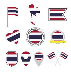 thailand flag icon set flag kingdom of vector image