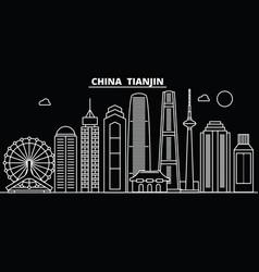 tianjin silhouette skyline china - tianjin vector image