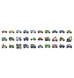 transportation related icon set filled style vector image