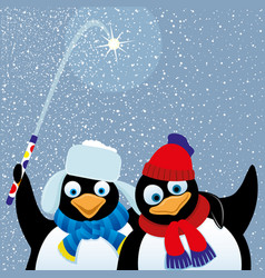 two penguins with a fireworks vector image