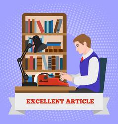 Typewriter excellent article concept background vector