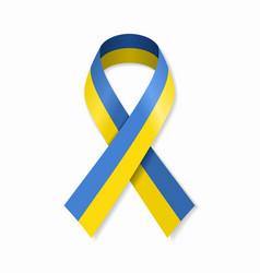 ukrainian flag stripe ribbon on white background vector image