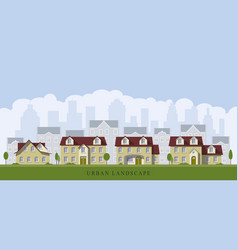 Urban cityscape with old mansions vector