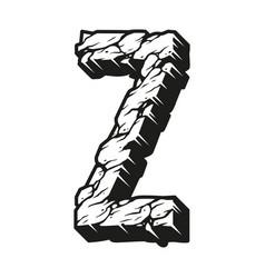 Vintage 3d alphabet letter z template vector