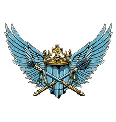 Vintage crest with wings vector