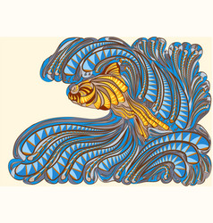 Waves with fish vector