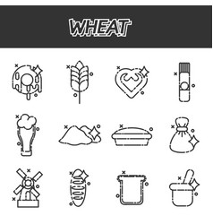Wheat flat cartoon icons vector