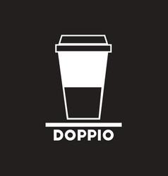 White icon on black background doppio to go vector
