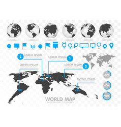 world map and 3d globe set with infographics vector image