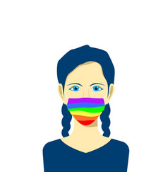 young female character avatar in protection face vector image