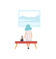 Young woman sitting on the bench and looking at vector