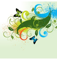 butterflies and leaves vector image vector image