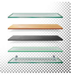 empty glass and wood shelves template vector image