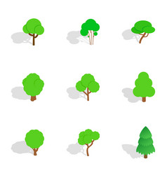 green tree icons isometric 3d style vector image vector image