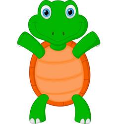 happy green turtle cartoon vector image