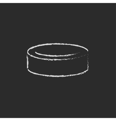 Hockey puck icon drawn in chalk vector image vector image
