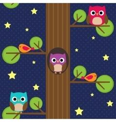 Owls at night vector image vector image