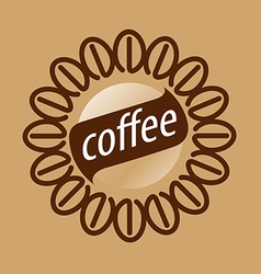Round logo coffee beans vector